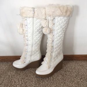 Haidee White Faux Fur Winter Boots